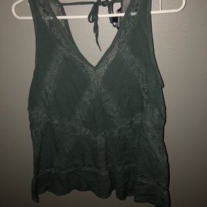 Cute army green lace AE tank!